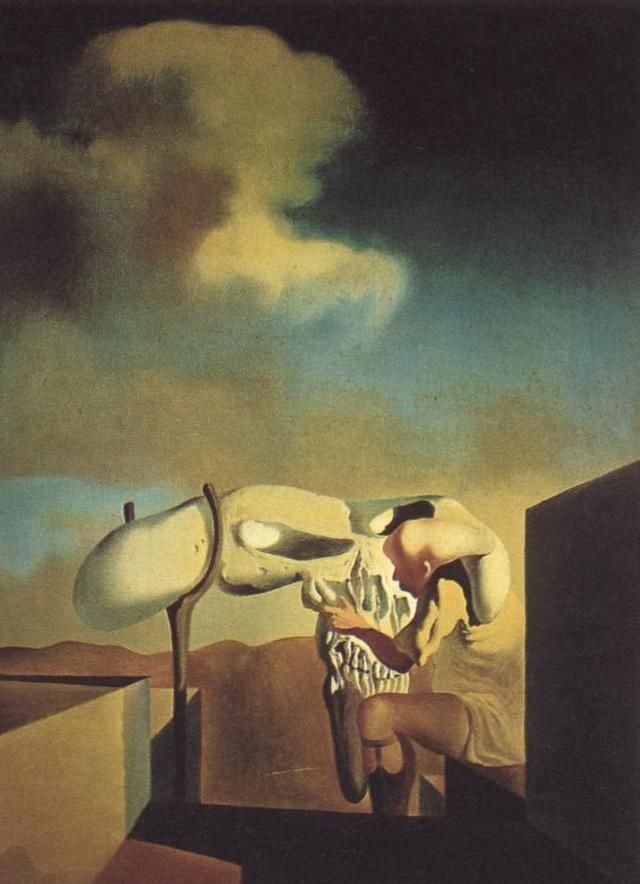 SALVADOR DALI – 1933 – 04 – Average Atmospherocepalic Bureaucrat in the Act of Milking a Cranial Harp 1933