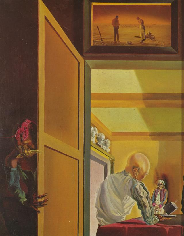 SALVADOR DALI – 1933 – 07 – Gala and the Angelus of Millet Preceding the Imminent Arrival of the Conical Anamorphoses 1933