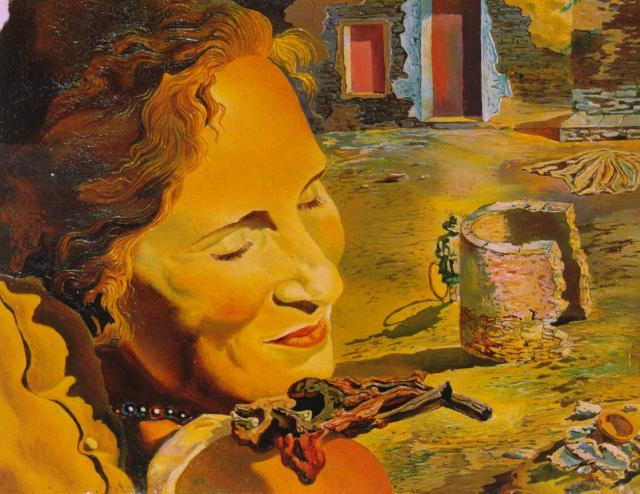 SALVADOR DALI – 1933 – 13 – Portrait of Gala with Two Lamb Chops Balanced on Her Shoulder 1933