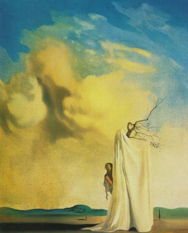 SALVADOR DALI – 1934 – 06 – Figure and Drapery in a Landscape circa 1934