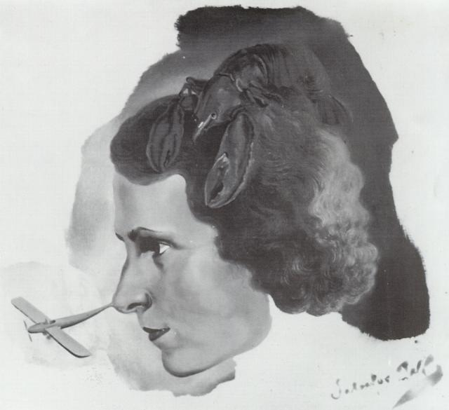 SALVADOR DALI – 1934 – 32 – Portrait of Gala with a Lobster (Portrait of Gala with Aeroplane Nose) circa 1934