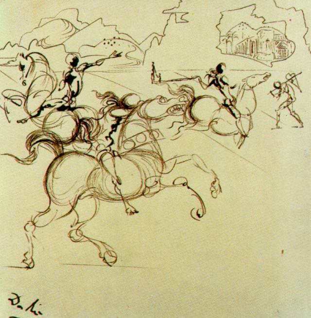 SALVADOR DALI – 1934 – 67 – Surrealist Warriors for a Four-part Screen Centre Left circa 1934