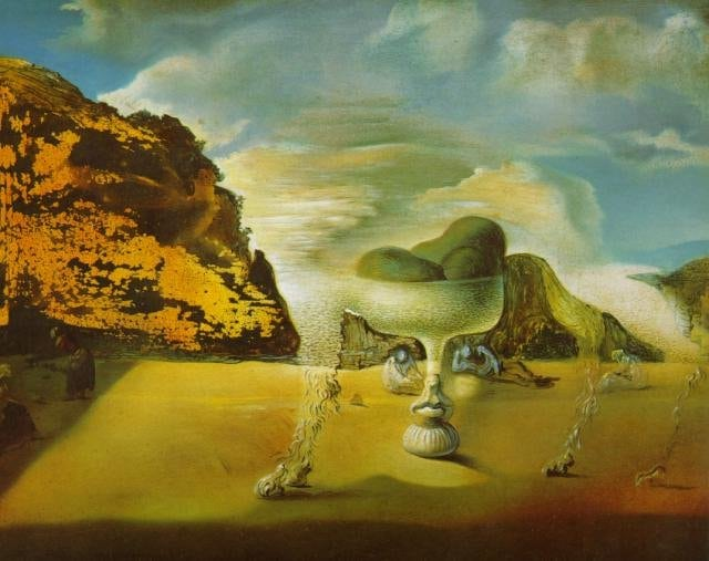 SALVADOR DALI – 1938 – 30 – Invisible Afghan with the Apparition on the Beach of the Face of Garcia Lorca in the Form of a Fruit Dish with Three Figs 1938
