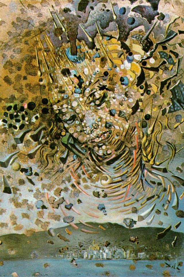 SALVADOR DALI – 1954 – 16 – Head Bombarded with Grains of Wheat (Particle Head Over the Village of CadaquNs) 1954