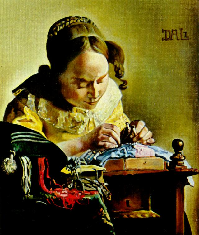 SALVADOR DALI – 1955 – 11 – The Lacemaker (copy of the painting by Vermeer Van Delft) 1955