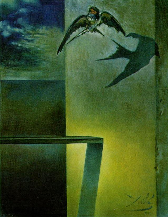 SALVADOR DALI – 1956 – 11 – The Motionless Swallow. Study for 'Still Life – Fast Moving' 1956