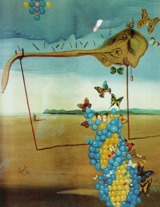 SALVADOR DALI – 1957 – 08 – Butterfly Landscape (The Great Masturbator in a Surrealist Landscape with D.N.A.) 1957-58