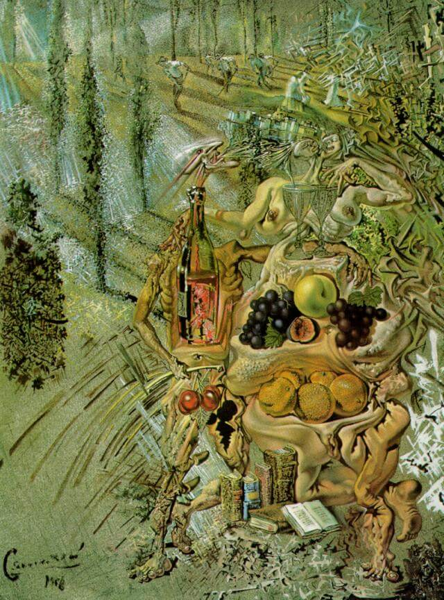 SALVADOR DALI – 1958 – 08 – Dionysus Spitting the Complete Image of CadaquNs on the Tip of the Tongue of a Three-Storied Gaudinian Woman 1958-60