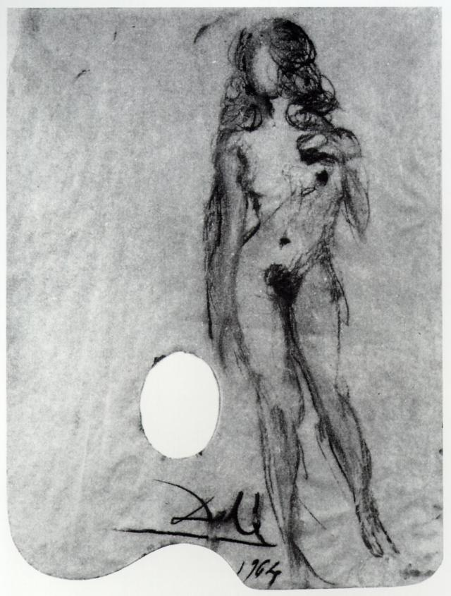 SALVADOR DALI – 1964 – 07 – Untitled. Female Nude on a Palette 1964