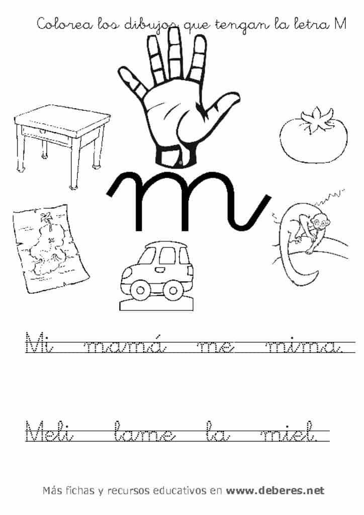 thumbnail of ficha letra M unir dibujos y colorear