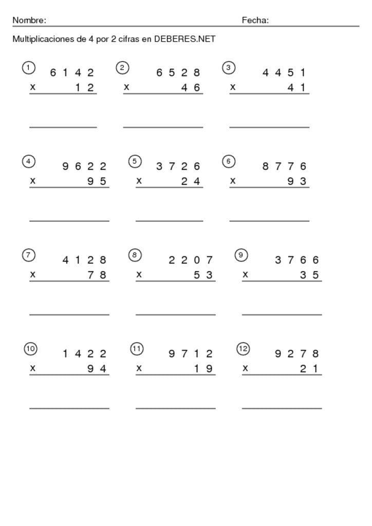 thumbnail of Multiplicaciones de 4 por 2 cifras -9