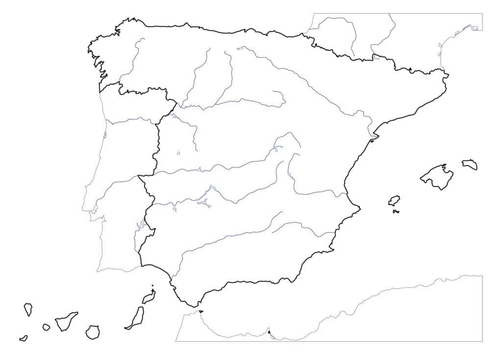 Mapa De España Mudo Rios Para Imprimir.Mapa Rios Espana Mudo Detraiteurvannederland
