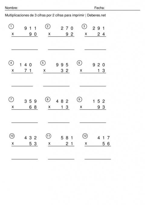 thumbnail of Multiplicaciones de 3 cifras por 2 cifras para imprimir – Ficha 10