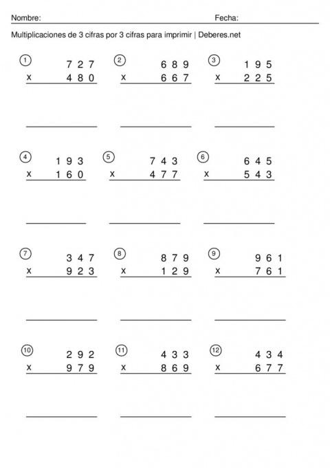 thumbnail of Multiplicaciones de 3 cifras por 3 cifras para imprimir – Ficha 8
