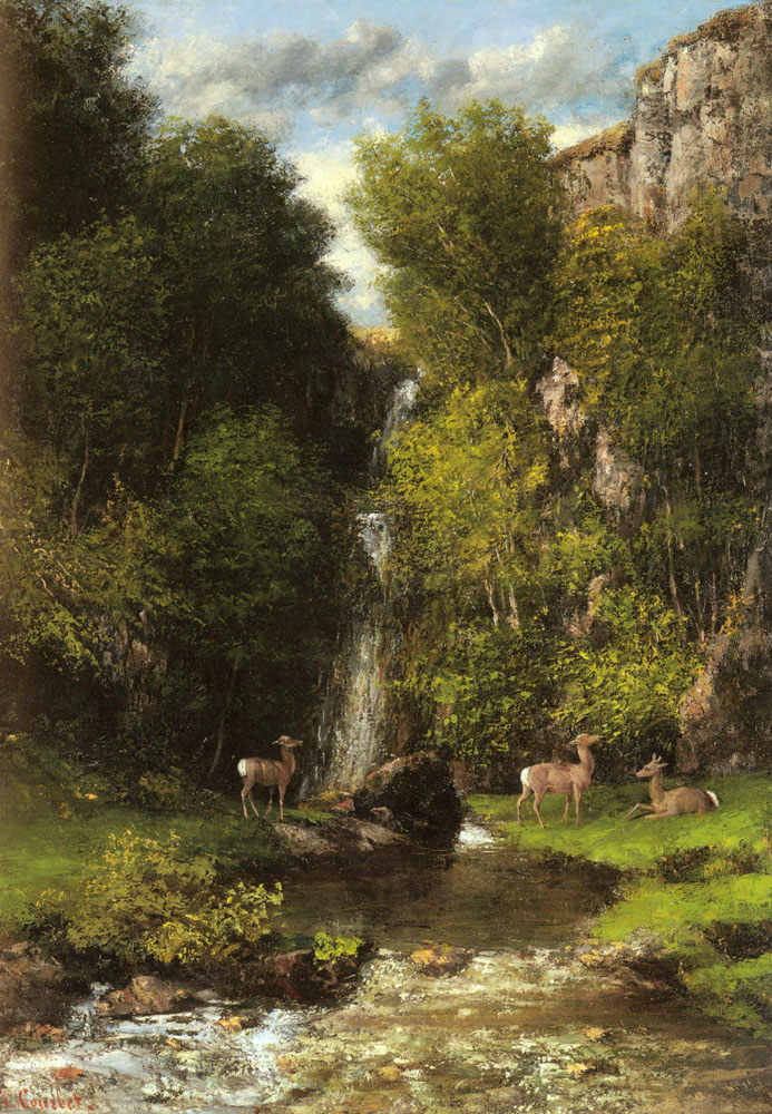 A Family of Deer in a Landscape with a Waterfall – Gustave Courbet
