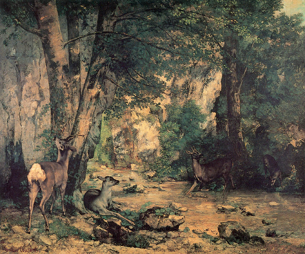 A Thicket of Deer at the Stream of Plaisir Fountaine – Gustave Courbet