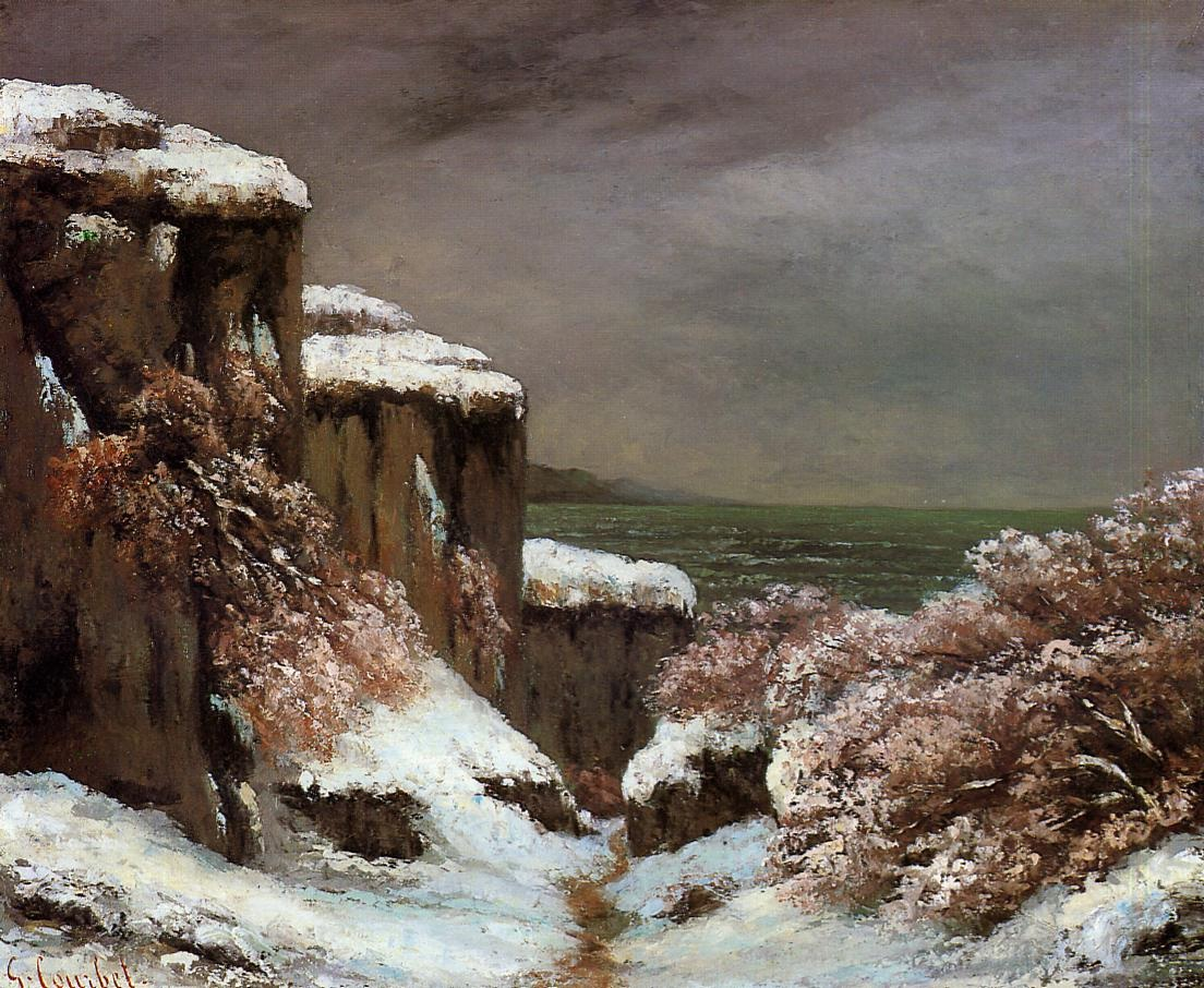 Cliffs by the Sea in the Snow – Gustave Courbet