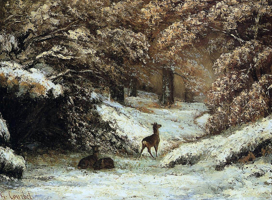 Deer Taking Shelter in Winter – Gustave Courbet