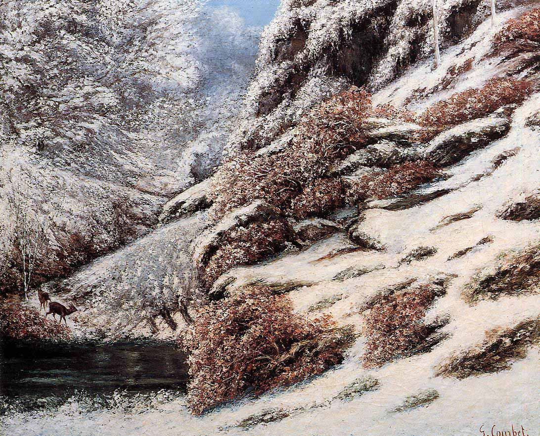 Deer in a Snowy Landscape – Gustave Courbet