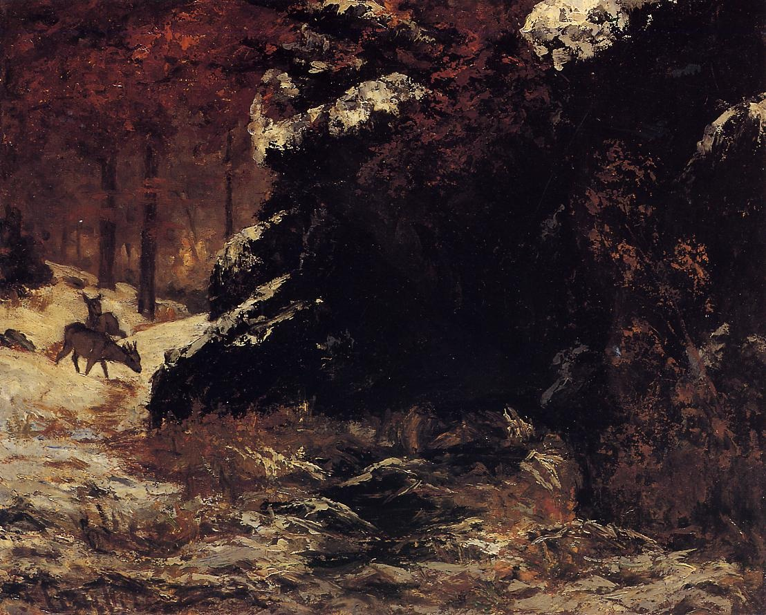 Deer in the Snow – Gustave Courbet