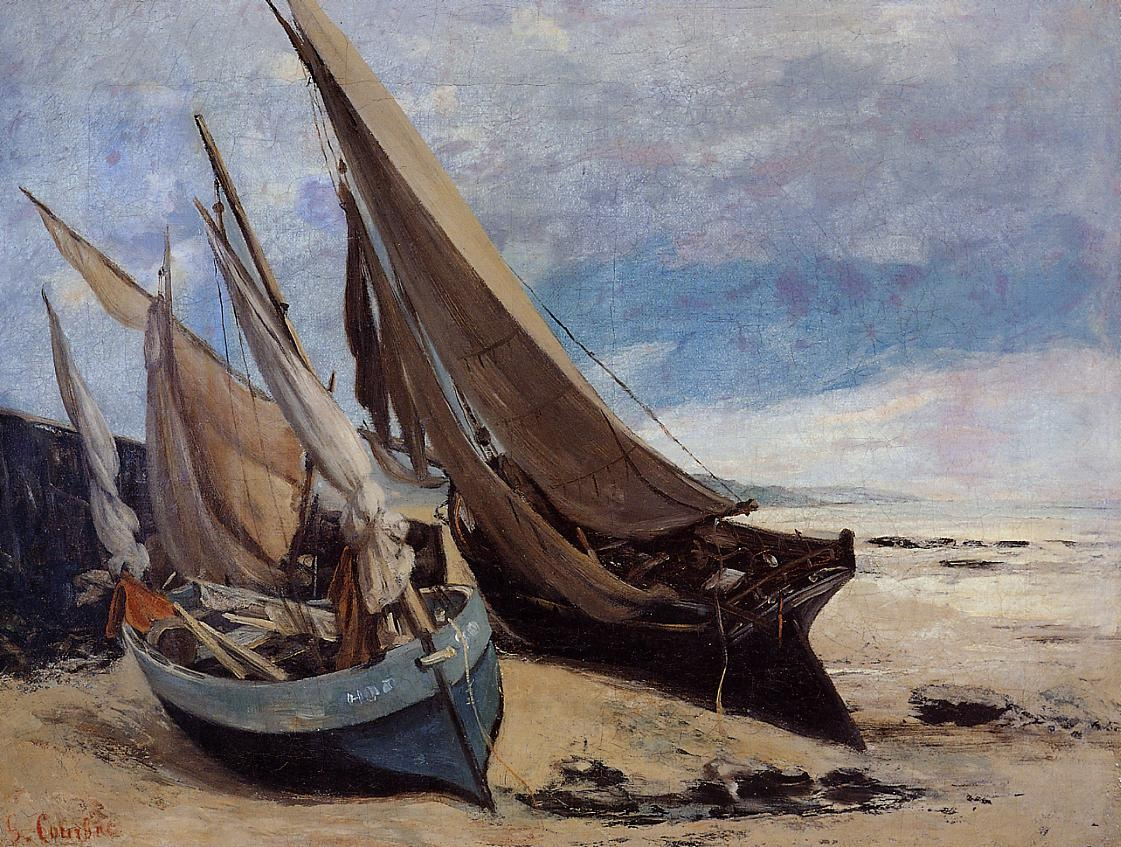 Fishing Boats on the Deauville Beach – Gustave Courbet