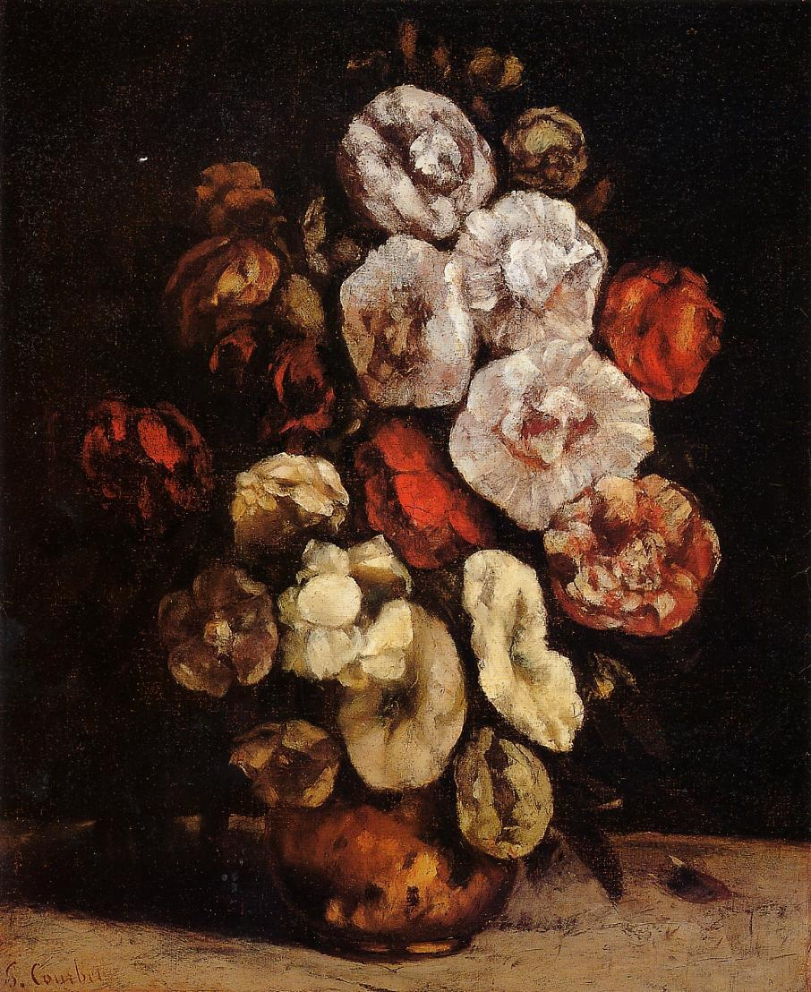 Hollyhocks in a Copper Bowl – Gustave Courbet