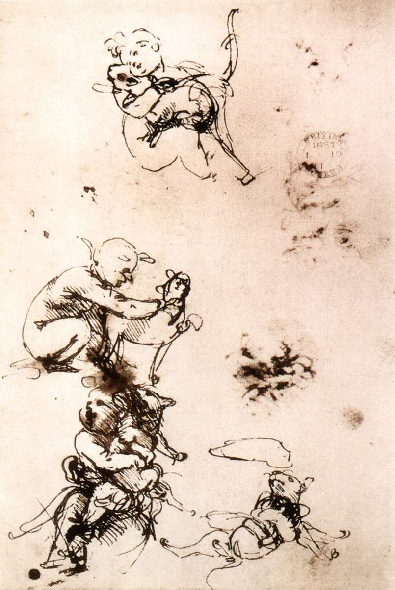 Leonardo da Vinci – Study of a child with a cat (facsimile)