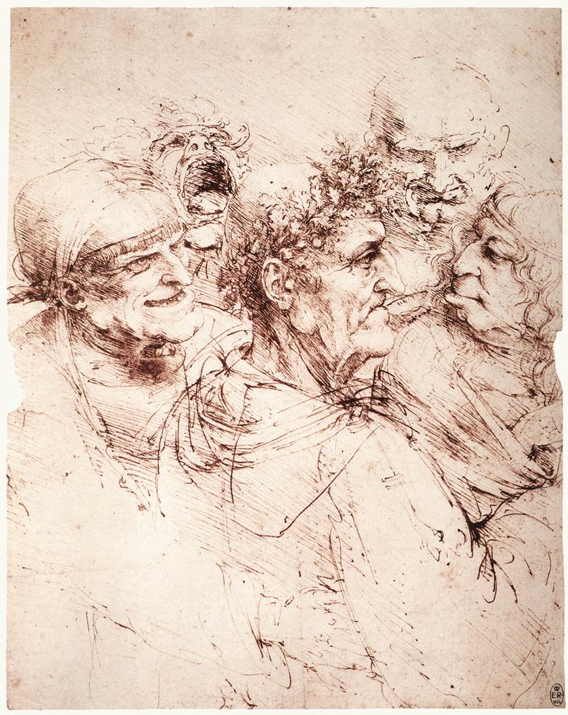 Leonardo da Vinci – Study of five grotesque heads