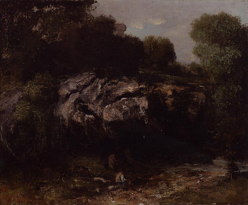 Rocky Landscape with Figure – Gustave Courbet