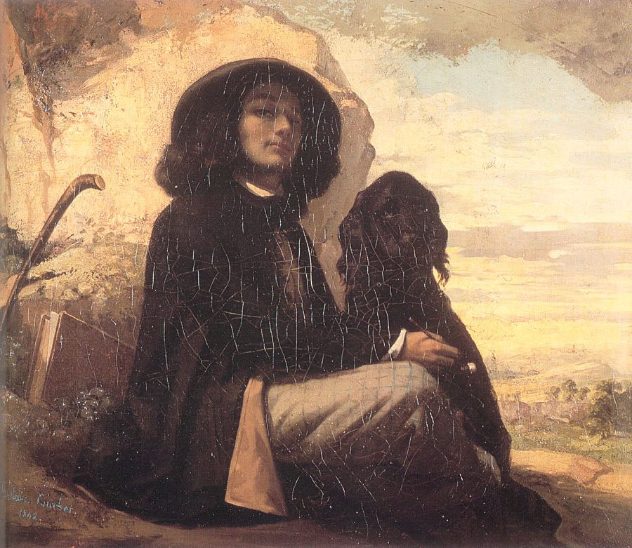 Self Portrait with a Black Dog – Gustave Courbet