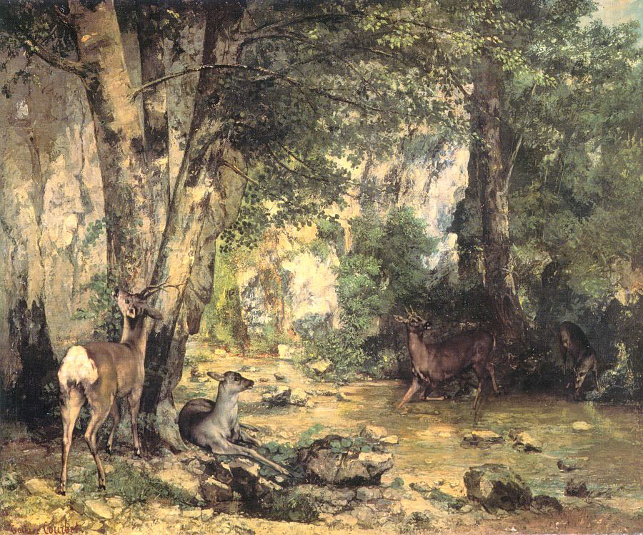 Shelter of the Roe Deer at the Stream of Plaisir Fontaine, D – Gustave Courbet
