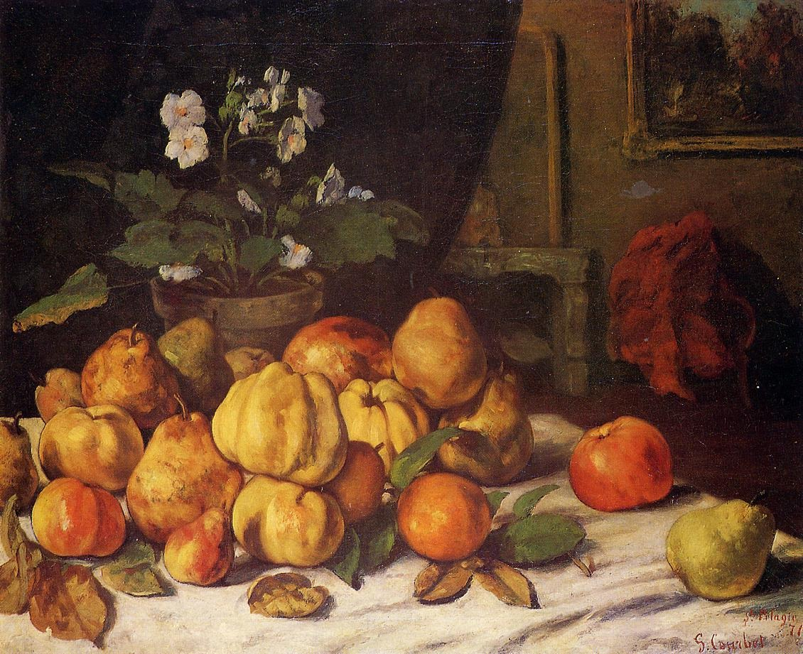 Still Life Apples, Pears and Flowers on a Table, Saint Pel – Gustave Courbet