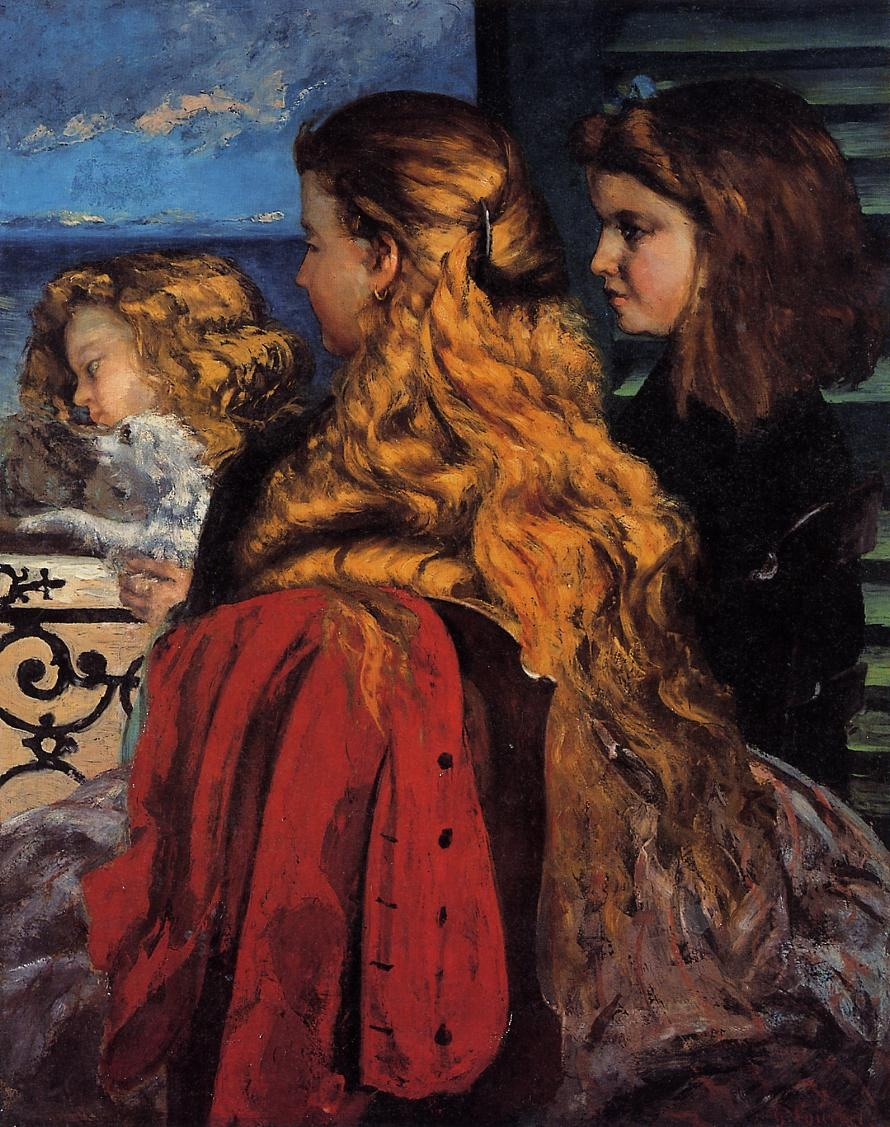 Three English Girls at a Window – Gustave Courbet