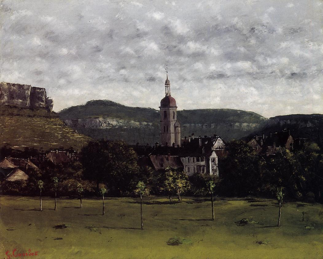 View of Ornans and Its Church Steeple – Gustave Courbet