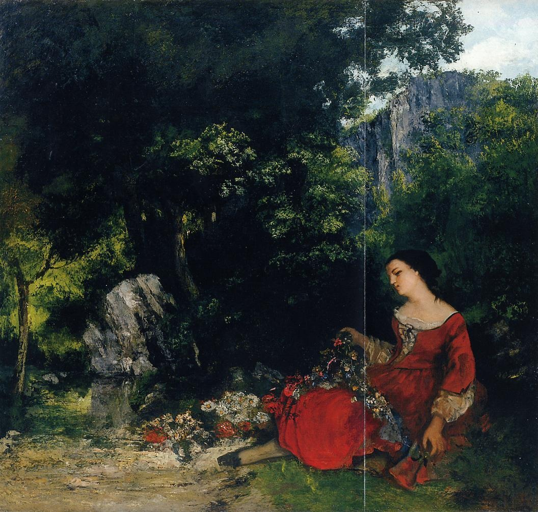 Woman with Garland – Gustave Courbet