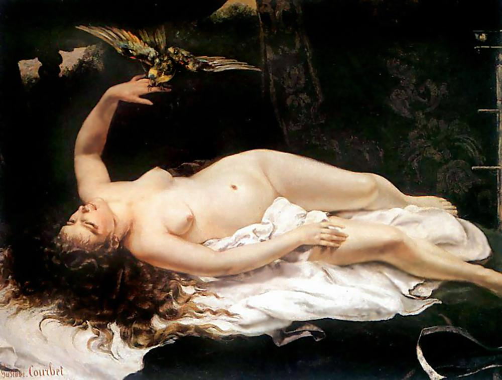Woman with a Parrot – Gustave Courbet